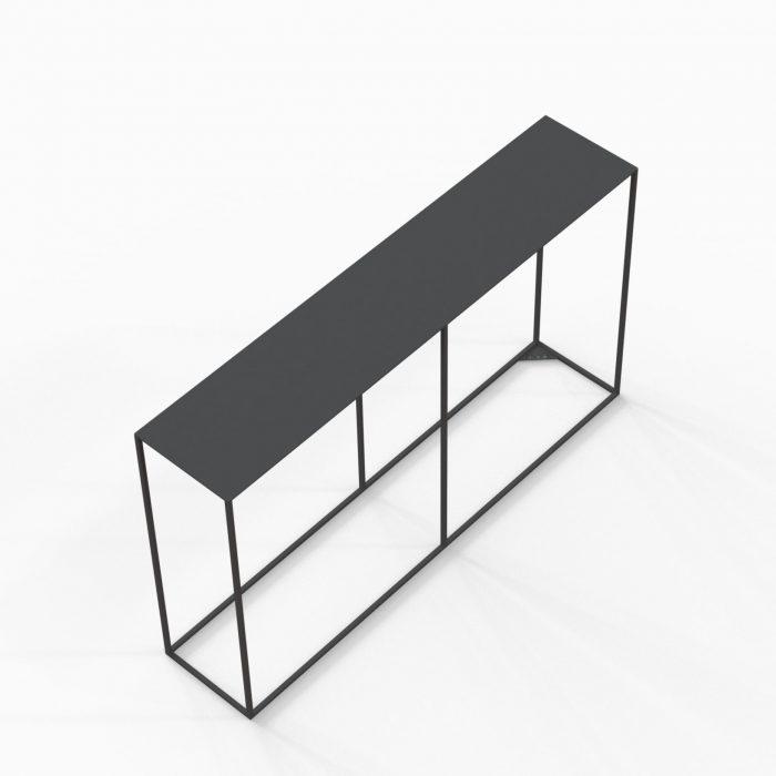 Metalen sidetable 120x25x70 mat zwart